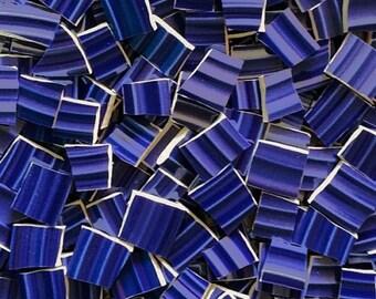 Mosaic Tiles--Cobalt Blue Ridges-Glossy 100 Count