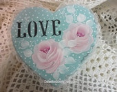 Aqua Love Heart Keepsake Gift Box, Hand Painted, Designer, Paper Mache, ECS