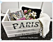 Paris Farmhouse Shabby Distressed Wood Crate, Hand Painted, Storage, Display, ECS, CSSTeam