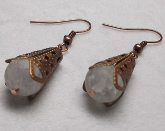 Crystal Quartz, Copper, and Brass Earrings