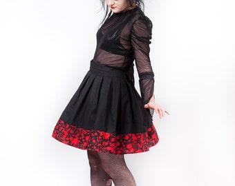 Blood Spatter Skater Skirt, Horror, Halloween, Psychobilly, custom size.