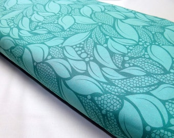 Lush Turquoise Tossed Leaves DC5390 Quilting Fabric by Patty Young for Michael Miller