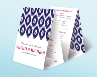 100 Seal and Send All in One Tri Fold Ikat Tribal Fabric Wedding Invitations