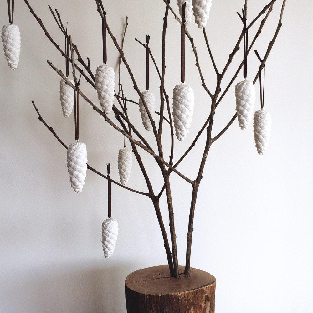 White Christmas Tree Decorations Australia: White Cast Plaster Pinecone Christmas Decorations Set Of