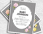 Classy Black & White Vintage Rose Party or Shower Invitation (3 color options - printable)