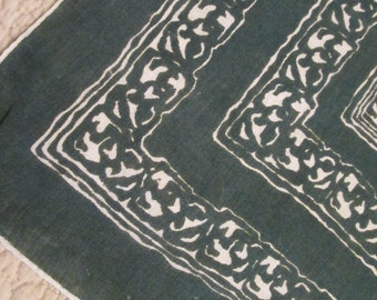 Vintage Cotton Hanky/ Handkerchief - Forest Green and White