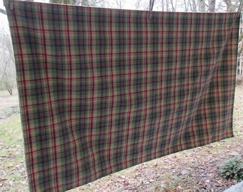 Vintage Woven Plaid Cotton Tablecloth - Burgundy Green Tan Navy - Winter Dining