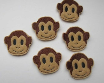 Tan Monkey Face Felt Applique - Embellishments  - 087
