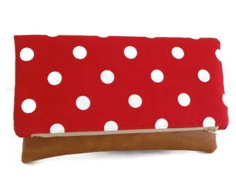 Foldover Clutch Bag - Polka Dot - Red and White - Envelope Pouch - Vegan Leather - Cotton