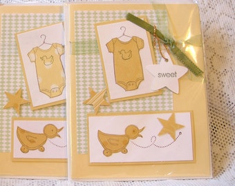 CLEARANCE New Baby Cards for Shower Yellow, Green White Grab Bag of 3, Use for yourself or purchase to ReSell