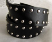 Leather Wristband in Black with Metal Studs for Men Woman and Teens