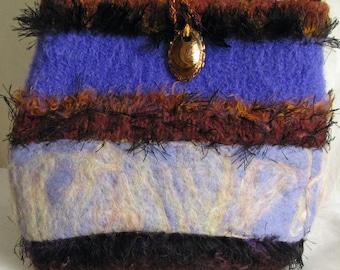 Shoulder bag large purse hip bag hand felted in royal blue cream gold women fashion