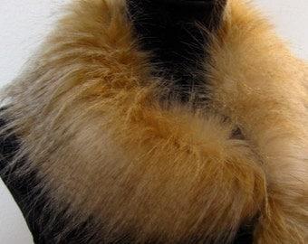 ON SALE Winter Cowl Scarf  Faux Fur Neckwarmer Circular Accessory Women  High Fashion Light Foxy Brown