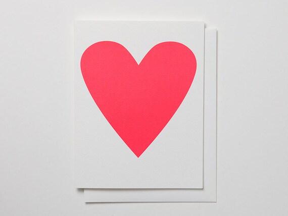 Neon Pink Heart Card