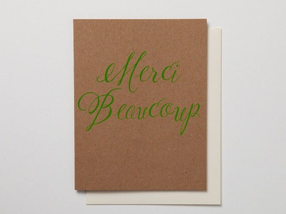 Neon - Merci Beaucoup Card - Lime Green