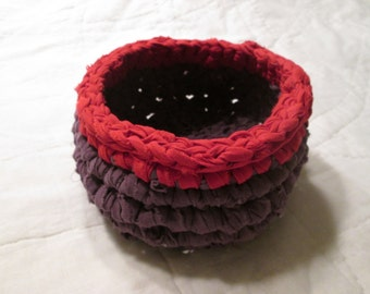 Crocheted Linen Rag Rug Basket Purple with Red Trim
