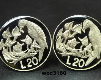 San Marino coin cufflinks 20 Lire  21mm