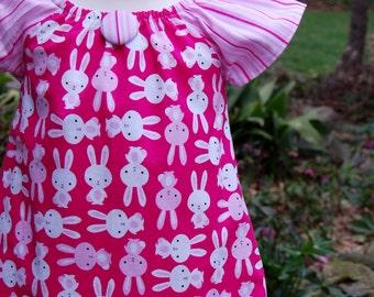 Girls Dress,  Easter Dress, Girls Peasant Dress, Baby Dress, Toddler Dress, Girls Pink Dress, Ready to Ship, Girls Clothing