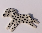 Ceramic Mosaic Tile or Brooch Pin Porcelain Ceramic Dalmatian