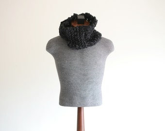 Mens Black Scarf, Knit Black Infinity Scarf, Black Cowl Scarf, Black Neckwarmer, Black Neck Warmer with Charcoal Grey Scarf