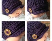 Brimmed Newsboy Hat Boy Girl Eggplant Purple 3-6 months - ALL Sizes Available