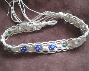 Fancy Macrame Necklace with 3 Spotted Lampwork Glass Beads and Vintage Czech Glass Accent Beads