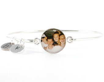 Personalized Photo Bangle, Mom from Son Gift, Mom from Daughter Gift, Stepmom, New Mom, Aunt Jewelry