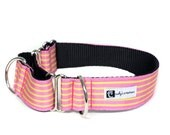 Wide 1 1/2 inch Adjustable Buckle or Martingale Dog Collar in Sunshine Stripe