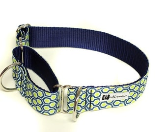 Wide 1 1/2 inch Adjustable Buckle or Martingale Dog Collar in Honeycomb Navy