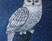 Art Print on Wood - Snowy Owl -  Woodland Owl - Wall Decor - Art for Small Spaces - 5x5 - Spirit Animal - Art for Den