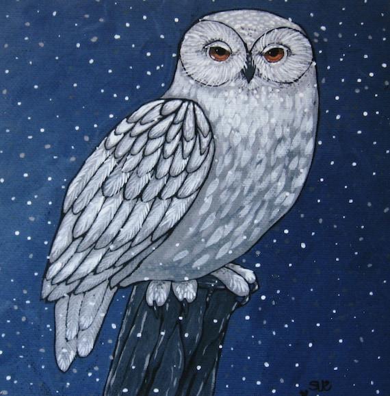 Art Print on Wood - Snowy Owl -  Woodland Owl - Wall Decor - Art for Small Spaces - 5x5 - Spirit Animal - Art for Den