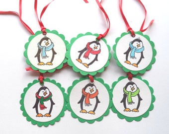 Penguin Gift Tags, Christmas Gift Tags, Green and White Set of 6, for Scrapbooking, Card Making, Gift Giving