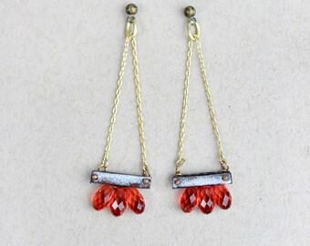 Handmade Gift - Sparkler Earrings - Enamel and Swaroski Statement Earrings