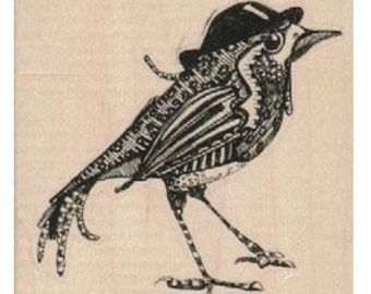 bird hat zentangle Steampunk Rubber Stamp  designed by Mary Vogel Lozinak no 18890