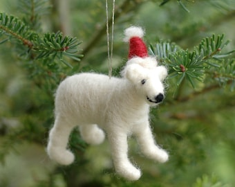 Polar Bear with a Santa Hat - Needle Felted Christmas Ornament