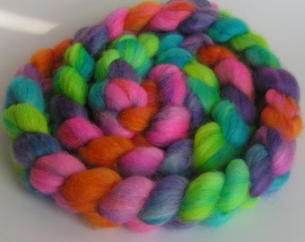 Roving Fiber COLUMBIA Top FLOWER POWER  Hand Painted Spin Felt Craft 4 ounces