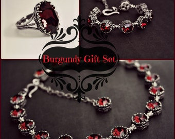 Burgundy Jewelry Set Dark Red Swarovski Crystal Gothic Choker Red Tennis Bracelet Red Choker Victorian gothic Jewelry wife