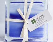 fused glass coasters. blue, royal blue, white, glass coasters. set of 4.