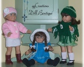 American Girl Clothing...Hand Knitted...( 3 Piece Pink Skirt Outfit)