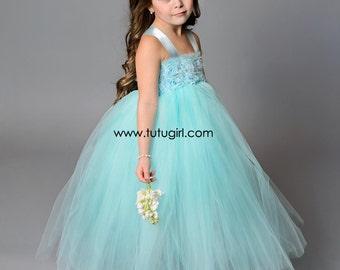 Aqua Flower Girl Dress, Aqua Tutu Dress