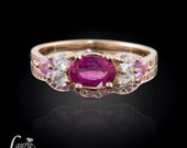 Rose Gold Engagement Ring, Pink Tourmaline with Pink and White Sapphires in 14kt Rose Gold Wedding Ring Set - LS1902
