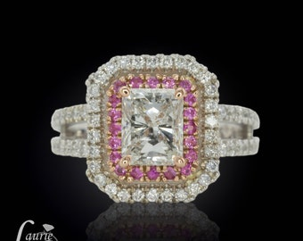 Pink Sapphire and Diamond Double Halo Ring Semi Mount - Setting Price Only - Shown here with a Diamond Center Stone - LS958