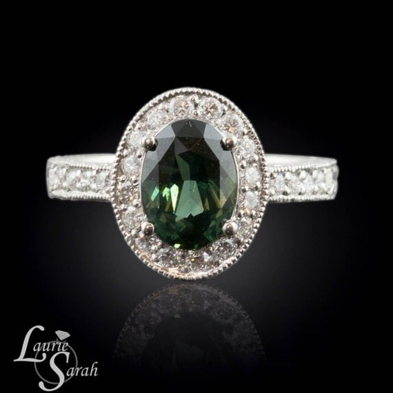 Dark Green Sapphire and Diamond Platinum Engagement Ring- Custom Engraving - LS1801