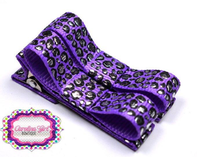 Purple Leopard Hair Clips Basic Tuxedo Clips Alligator Non Slip Barrettes for Babies Toddler Girl Set of 2