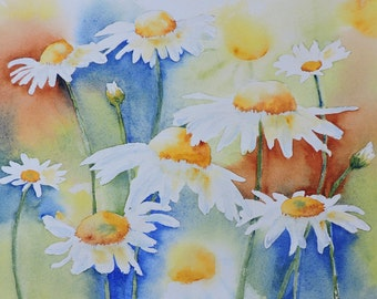 Art,  Art Print of Watercolor Painting of a Field of Daisies