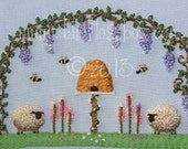 Under the Wisteria: Stumpwork Sheep 2 Embroidery Pattern