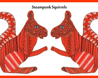 Steampunk, Steampunk Squirrels, 2 steampunk squirrels, 2 red steampunk squirrels Print