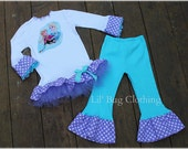 Custom Boutique Disney Frozen Anna Elsa Tulle Tee  And Pant Outfit 12 18 24 2t 3t 4t 5t 6 7 8 9 10