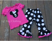 Custom Boutique Jumbo Dot  Pink And Black Minnie Mouse Knit peasant Top  Pant Outfit