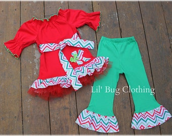 Custom Boutique Clothing Christmas Holiday Wear Personalized Chevron Tulle Tee And Pant Outfit Red And Lime